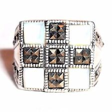 (SIZE 6,7) CHUNKY SQUARES RING Mother of Pearl & Marcasite .925 STERLING SILVER