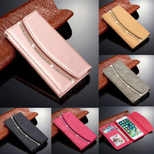 New Diamond Crystal Magnetic Leather Flip Wallet Case Cover For iPhone & Samsung