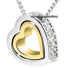 HOT Xmas Present - Heart Crystal Diamond Necklace Gold Silver Gift For Her Women