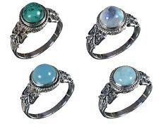 925 Solid Sterling Silver Ring Natural Multi Gemstone All Size Available