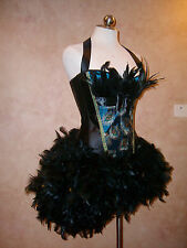 Mardi Gras Masquerade Peacock Blurlesque Showgirl Corset Feather Costume Dress