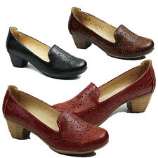 WOMENS LADIES CASUAL WORK OFFICE CUBAN HEEL SLIP ON COURT SHOES PUMPS SIZE 3-8