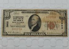 Series 1929 $10 Dollar National Currency 3952 MNB & Trust Co Rockford, IL P0037