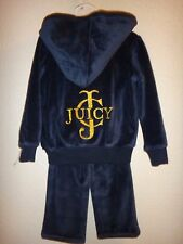 JUICY COUTURE~Girl's Toddler 2PC Jog Set~Blue VELOUR~Hooded Jacket~12-18M,18-24M