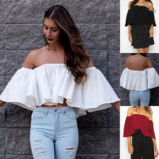 Womens Off Shoulder Loose Beach Crop Tops Ladies Casual Frill T Shirt Blouse Top