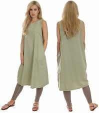 Cool Casual Cotton Summer Dress Holiday Maternity Suitable Green UK 12 MontyQ