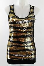 NWT David Cline Black And Gold Sequins Tank