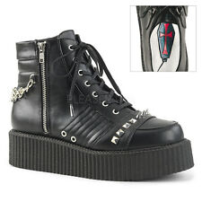 V-CREEPER-565 BIKER COMBAT RAVE STUD/CHAIN SPIKES CREEPER LACE UP BOOTIE(UNISEX)