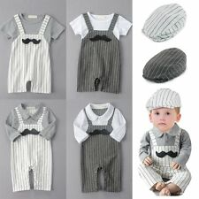 Baby Boy Wedding Christening Tuxedo Party Suit Outfit Clothes+Hat Set 0-24M