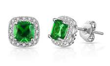 Genuine Created Emerald, Ruby or Sapphire Square Halo Stud Earrings in Gift Box