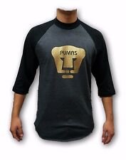 Pumas UNAM Black/ Gray Men's Gold Logo 3/4 Sleeve Shirt