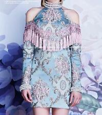Womens Chinese Style Tassels Flower Embroidery Sexy Cheongsam Beads Dresses Gown