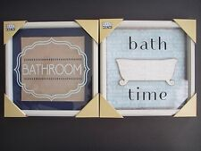 BATHROOM Bath 3D Door Wall Hanging Plaque Glass Framed Sign Picture Decor Blue