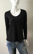 James Perse Knit Top Long Sleeve Scoop Neck Black Size 2 NWT