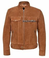 Men's TAN SUEDE 1345 Classic TRUCKER Denim Style Western  real Leather jacket