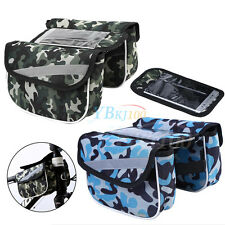 Camo Cycling Bike Front Top Frame Pannier Tube Bag w/Cell Phone Transparent Case