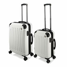 "20"" / 24"" White Hard Luggage 4 Wheel Spinner Trolley Suitcase TSA Lock Travel"
