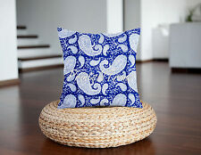Indian Paisley Cotton Cushion Cover Block Printed Ethnic Throw Decor Pillow Case