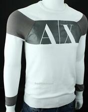 Armani Exchange A|X Mens Logo Crew Bold Stripe Graphic Sweater NWT