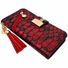 Snake Skin Red PU Leather Zipper Flip Wallet Purse Case Card Holder for iPhone 7