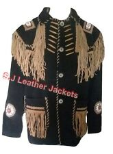 Men's Western Cowboy Fringed & Beaded Cow-Suede Indian Style Leather Jacket