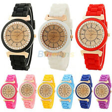 Geneva Silicone Retro Golden Crystal Stone For Ladies Women Girl Wrist Watch