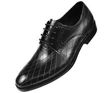 Asher Green Mens Contemporary Black Genuine Leather Quilted Plain Toe Oxford Dre