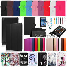 For Amazon Kindle Fire 7 / HD 8 (2017 Release) Premium Leather Stand Case Cover