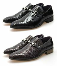 Mens Black Brown Faux Leather Snake Skin Designer Inspired Slip On Loafers Shoes