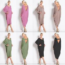 New Ladies Backless  Baggy Cocktail Midi Dress Long Sleeve Party Wear 8-26