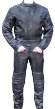 2pc Motorcycle Riding Racing Track Suit w/ padding All Leather Drag Suit Black