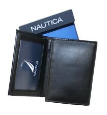 NAUTICA PASSCASE TRIFOLD MEN'S ID CREDIT CARD WALLET LEATHER FREE SHIPPING#66292