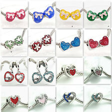 European 2pcs Silver heart Charm Beads Fit  Necklace Bracelet jewelry