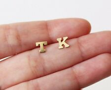 Alphabet Letter Initial Ear Stud Earrings Gold Filled and Sterling Silver 1 Pair