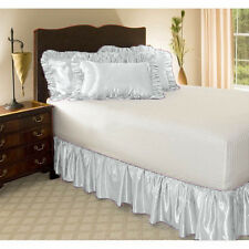 WHITE SOLID DUST RUFFLE BED SKIRT 1000 TC SATIN SILK CHOOSE SIZE