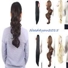 US Hairpiece Clip in Claw Jaw Ponytail Extensions Long Straight as Human Hair