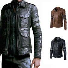 Hot Mens Fashion Slim Fit Motorcycle PU Leather Biker Jacket Coat Bomber Outwear