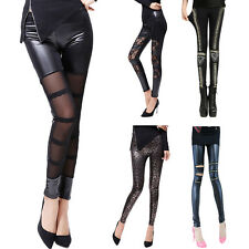 Women Stretchy Skinny Leggings Faux Leather Pants Tight Workout Clubwear Trouser