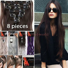 Women Natural Clip in Hair Extensions 8Pieces Full Head Long As Human Hair piece