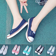 Womens Ladies Shallow Mouth Flat Canvas Casual Shoes Size Spring Slip On Loafers