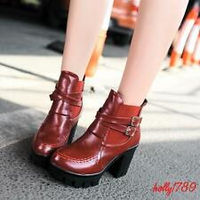 High Chunky Heels Boots Womens Synthetic Leather Platforms Buckle Riding Shoes