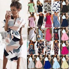 Womens Holiday Mini Playsuit Ladies Boho Blouse Summer Casual Beach Shirt Dress