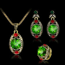 Women Retro Green Rhinestone Pendant Necklace Earrings Ring Jewelry Set Advanced