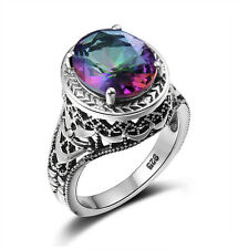 Mystic topaz 925 Sterling Silver Ring  Vintage Style Gemstone Ring for Women