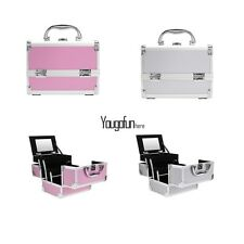 Professional Aluminum Cosmetic Makeup Artist Carrying Train Lockable Case 2Color