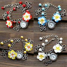 Women's Charm Flowers Watch Beads Butterfly Chain Bracelet Wrist Watch Advanced