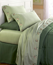 Bedding Queen or King Size Sheet Sets Daisy Chains Sage Green Microfiber Floral