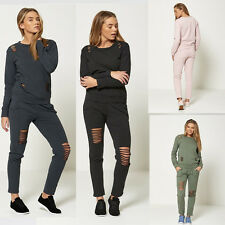 New Womens  Ripped Distressed Lounge wear Ladies Tracksuit Set Plus Size 8-26
