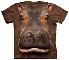 Hippo Face T-Shirt Oversized Print Animal Mountain Corp 100% Cotton Adult