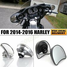 Chrome/Black Fairing Rear View Side Rearview Wing Mirrors For Harley 2014-2016